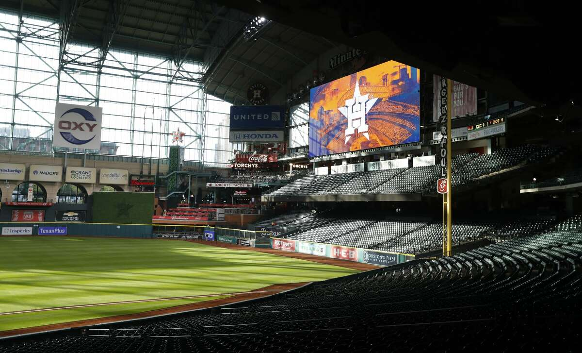 View of the new center field from the first base side during the tour of the new center field at Minute Maid Park, Wednesday, March 29, 2017, in Houston. ( Karen Warren / Houston Chronicle )