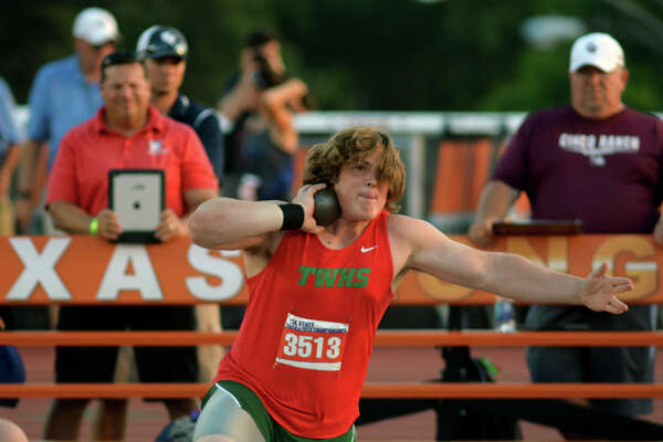 The Woodlands senior Adrian Piperi makes his gold-medal winning throw in the Boys Shot Put competition at the UIL Track & Field Championships at Mike R. Meyers Stadium on the campus of The University of Texas at Austin on Friday, May 13, 2016. (Photo by Jerry Baker/Freelance)