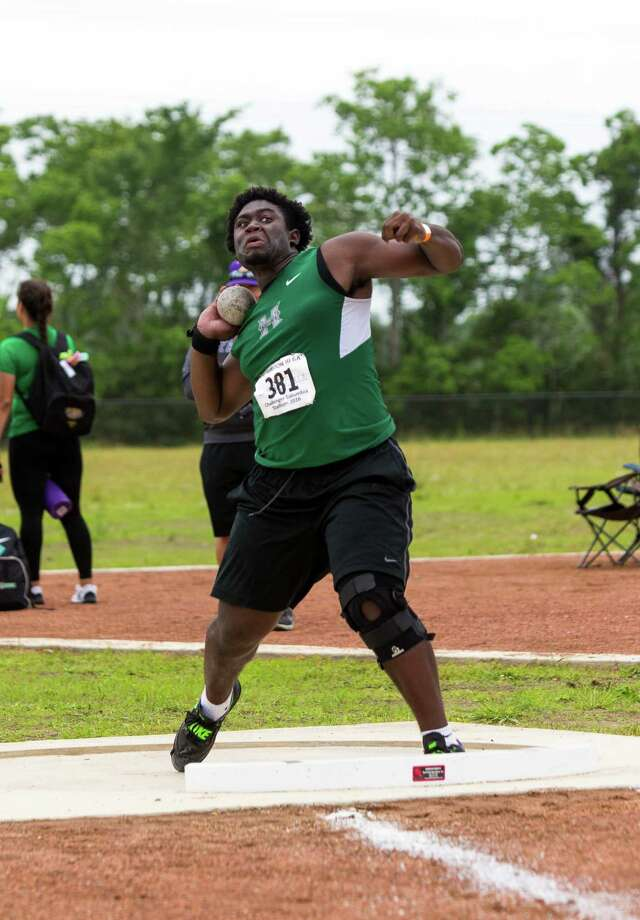 Gabriel Oladipo of Fort Bend Hightower throwing the put during the shot put competition during UIL Region II 6-A Track & Field Championship at the Challenger Columbia Stadium, Friday, Apr. 29, 2016, in Houston. (Juan DeLeon / For the Houston Chronicle) Photo: Juan DeLeon / Houston Chronicle
