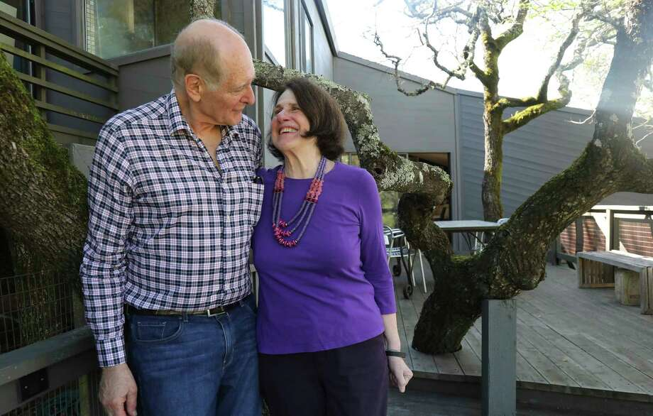 Paula Wolfert with her husband the crime novelist William Bayer, at their home in Sonoma, Calif., March 11, 2017. Wolfert, the author of nine cookbooks, is suffering dementia. But she retains her insatiable drive and is fighting back with a regimen of brain-boosting foods. (Jim Wilson/The New York Times) Photo: JIM WILSON, STF / NYTNS