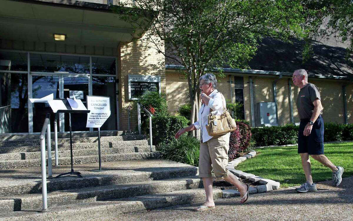Church goers arive to find news of the tragedy at the First Baptist Church in New Braunfels on March 29, 2017.