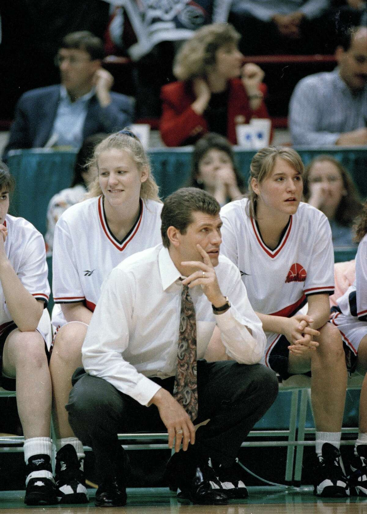 Auriemma watches the play of his team during the Final Four in Minneapolis, April 1, 1995.