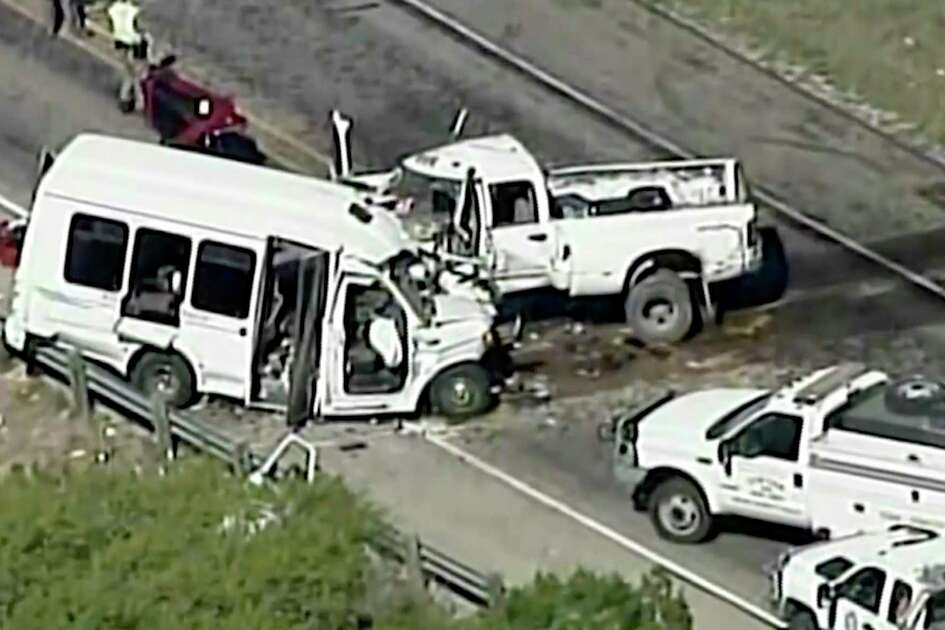 In this aerial image made from a video provided by KABB/WOAI authorities respond to a deadly crash involving a van carrying church members and a pickup truck on U.S. 83 outside Garner State Park in northern Uvalde County, Texas, Wednesday, March 29, 2017. The group of senior adults from First Baptist Church of New Braunfels, Texas, was returning from a retreat when the crash occurred, a church statement said. (KABB/WOAI via AP) SAN ANTONIO OUT