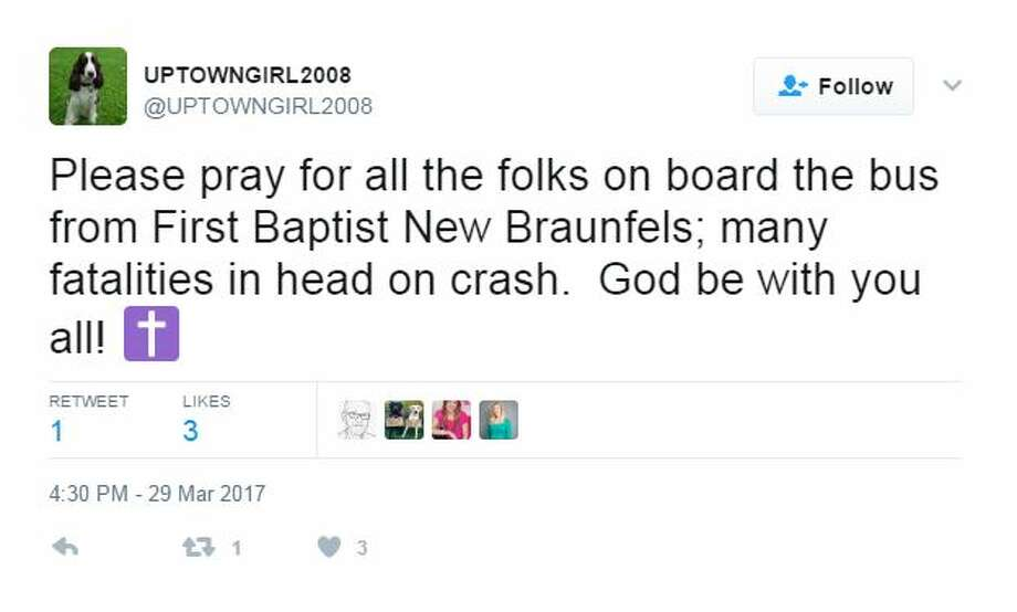 Please pray for all the folks on board the bus from First Baptist New Braunfels; many fatalities in head on crash. God be with you all! Photo: Twitter Screen Shots