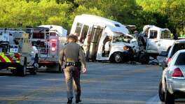 Thirteen passengers were killed in Uvalde County on Wednesday when a pickup truck collided with a church bus from New Braunfels.