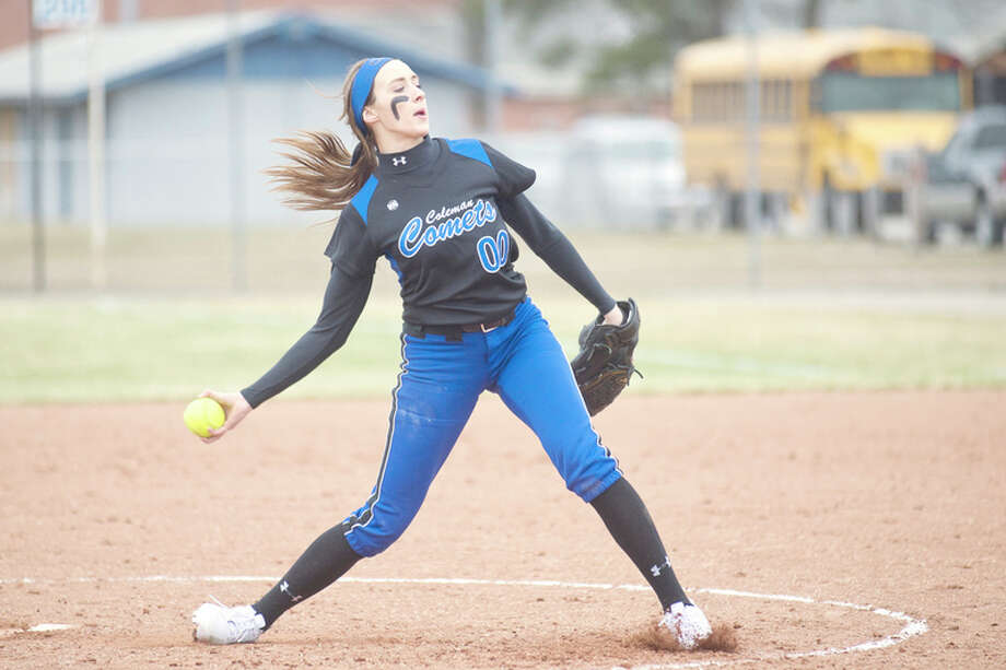 ERIN KIRKLAND | ekirkland@mdn.net Coleman's Faith Barden delivers a pitch during Wednesday's opener at Meridian. / Midland Daily News