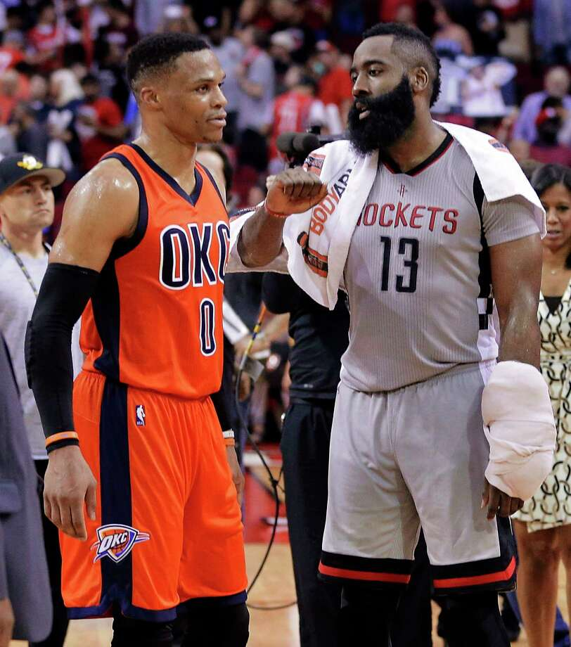 Houston Chronicle sports columnists Brian T. Smith and Jenny Dial Creech preview the Rockets' first game in the playoffs against the Oklahoma City Thunder and Russell Westbrook. Photo: Michael Wyke, FRE / FR33763 AP