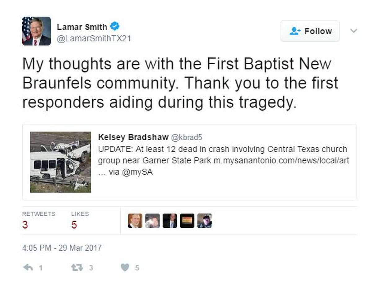 @LamarSmithTX21 Lamar Smith Retweeted Kelsey Bradshaw My thoughts are with the First Baptist New Braunfels community. Thank you to the first responders aiding during this tragedy.