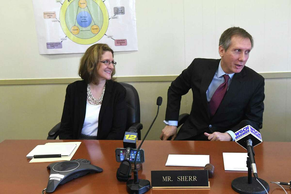 The Greenwich Board of Education Chairman Peter Sherr meets with the press with Jill Gildea, the newly appointed Superintendent of Schools, during a Special Meeting at the Havemeyer Building in Greenwich, Conn., March 30, 2017.