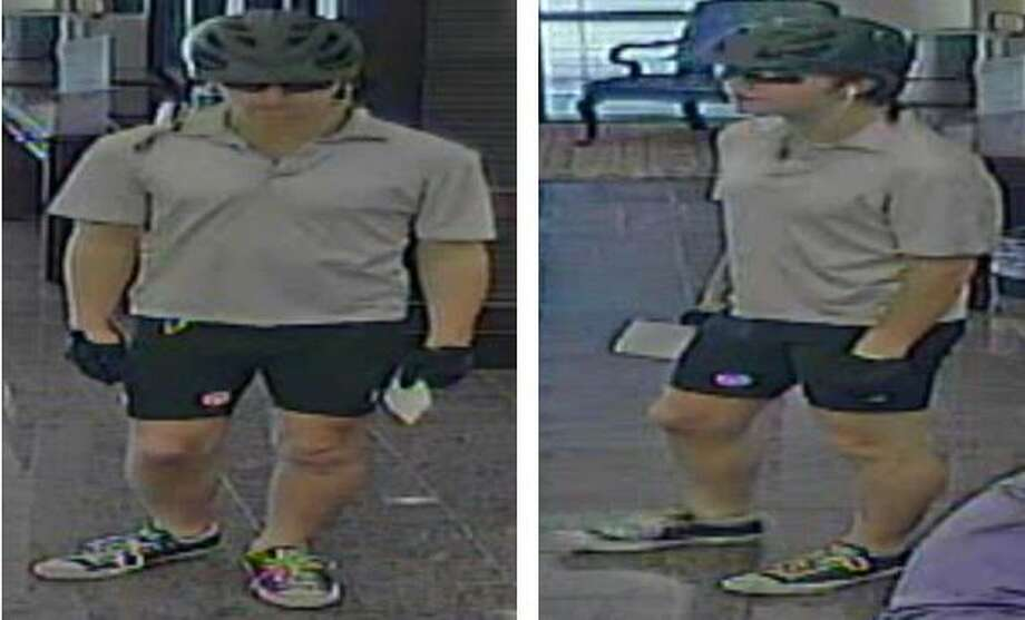 Police are looking for a suspect who walked into the IBC bank in the 16000 block of Huebner Road around 2:20 p.m. Monday, March 27, 2017, while wearing a bicycle helmet, sunglasses and cyclist shorts and demanded money from the teller. Photo: Crime Stoppers