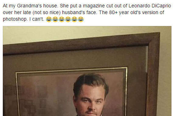 "81-year-old Texas grandma Peggy Zundel Photoshopped Leonardo DiCaprio over her ""not so nice"" ex-husband in order to keep the good looking photo of herself. Source:  Facebook"
