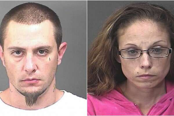 Dustin McCoy (left) and Kasey Thompson (right) have both been charged with robbery in connection with an incident at a Baytown Dollar General store which ended with an area police officer seriously injured and a pit bull shot and killed.