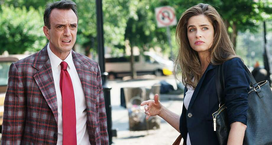 "Hank Azaria and Amanda Peet star in the new TV series ""Brockmire"" about a washed-up baseball broadcaster getting a fresh start with a minor-league team. Photo: Courtesy Photo"