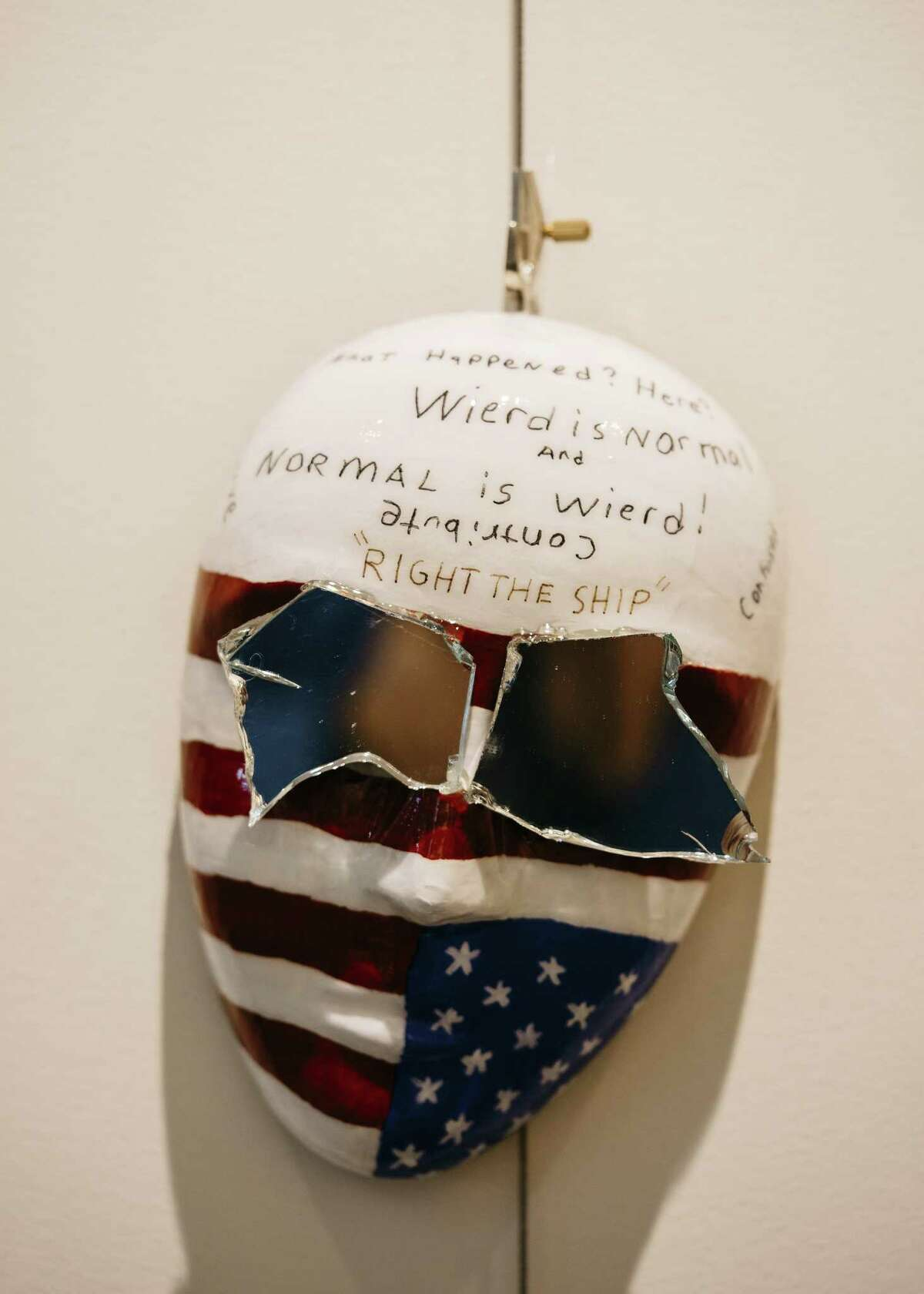 A mask designed by a veteran through a program hosted by the National Intrepid Center of Excellence at Walter Reed Military Hospital in Bethesda, Md., March 23, 2017. The art therapy program, which is run by the National Endowment for the Arts to help veterans cope with brain injuries or post-traumatic stress disorder, is being cited to rebut calls for defunding the agency. (Justin T. Gellerson/The New York Times)