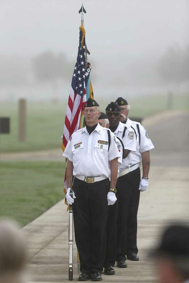 The color guard prepares to present the colors Wednesday, March 29, 2017 at Fort Sam Houston National Cemetery during a commemorative ceremony for Vietnam War veterans. April 30th marks the 42 anniversary of the last Americans being evacuated from the U.S. embassy in Saigon and the fall of the city to communist forces. Photo: William Luther, Staff / San Antonio Express-News / © 2017 San Antonio Express-News