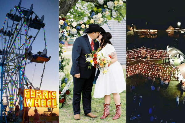 Melissa Tate had her dream wedding with an elaborate Texas State Fair theme, which had fair games, a Ferris wheel and fair foods like corn dogs and sausage-on-a-stick. Source:  Instagram