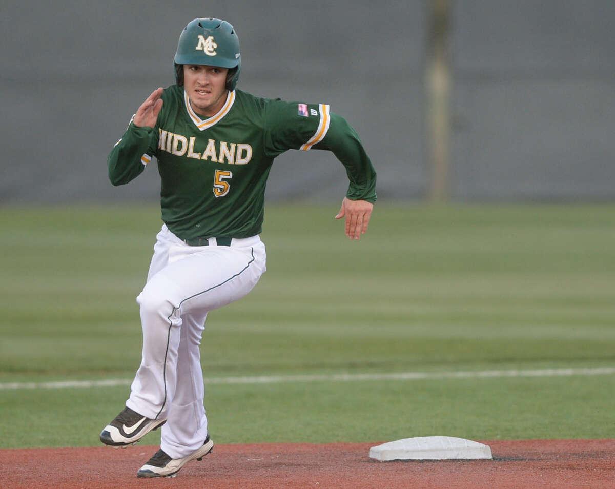 Midland College's Braden Hayward (5) runs the bases against Odessa College on Wednesday, March 29, 2017, at Christensen Stadium. James Durbin/Reporter-Telegram