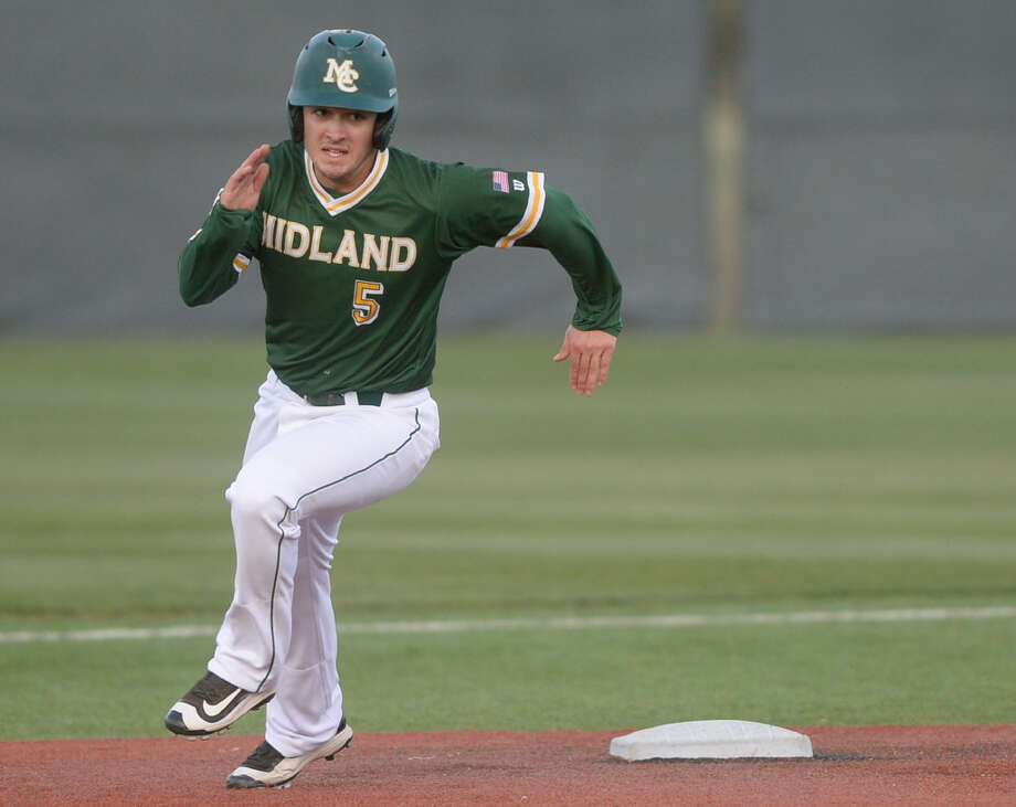 Midland College's Braden Hayward (5) runs the bases against Odessa College on Wednesday, March 29, 2017, at Christensen Stadium.