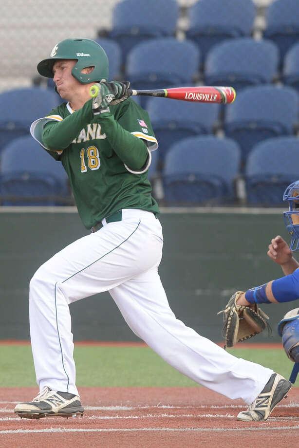 Midland College's Nolan Rattai (18) bats against Odessa College on Wednesday, March 29, 2017, at Christensen Stadium. James Durbin/Reporter-Telegram
