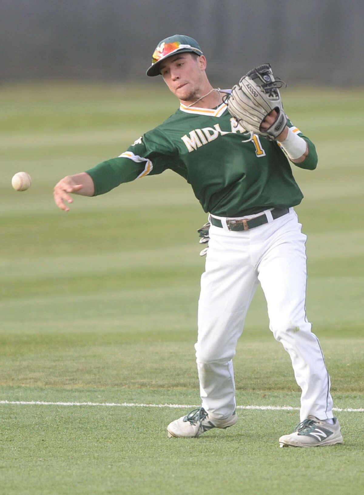 Midland College's Riley King (1) makes a play against Odessa College on Wednesday, March 29, 2017, at Christensen Stadium. James Durbin/Reporter-Telegram