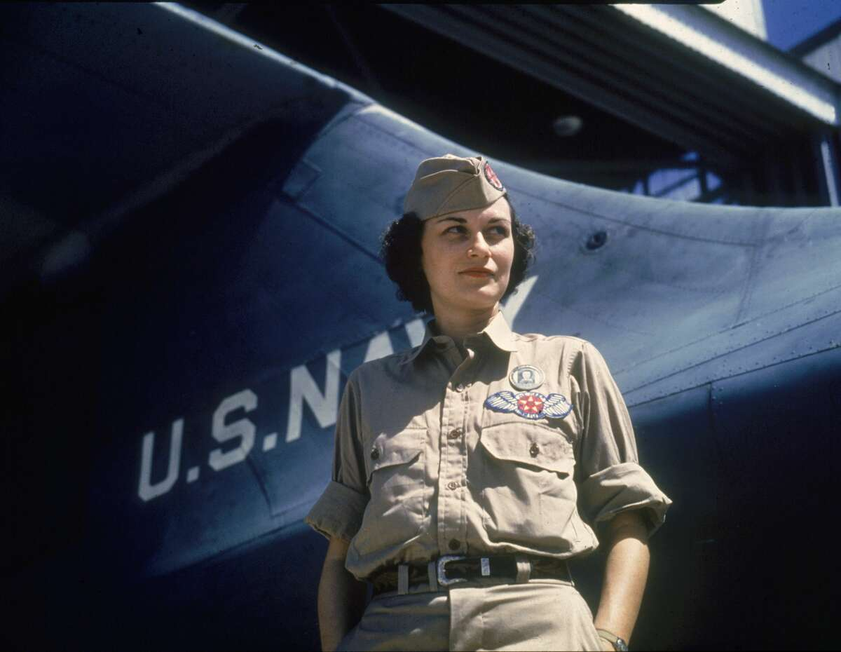 Assembly and Repairs Department senior supervisor Eloise J. Ellis as she stands near the tail of a Navy plane at Naval Air Station in Corpus Christi in August 1942.