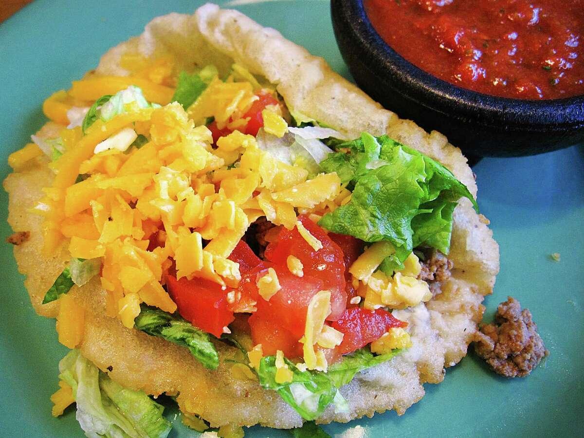 A beef puffy taco from Nicha's Comida Mexicana.