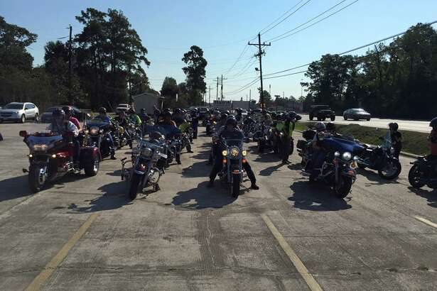 Riders participate in one of the first Home of Hope Rally motorcycle rides in October 2015.