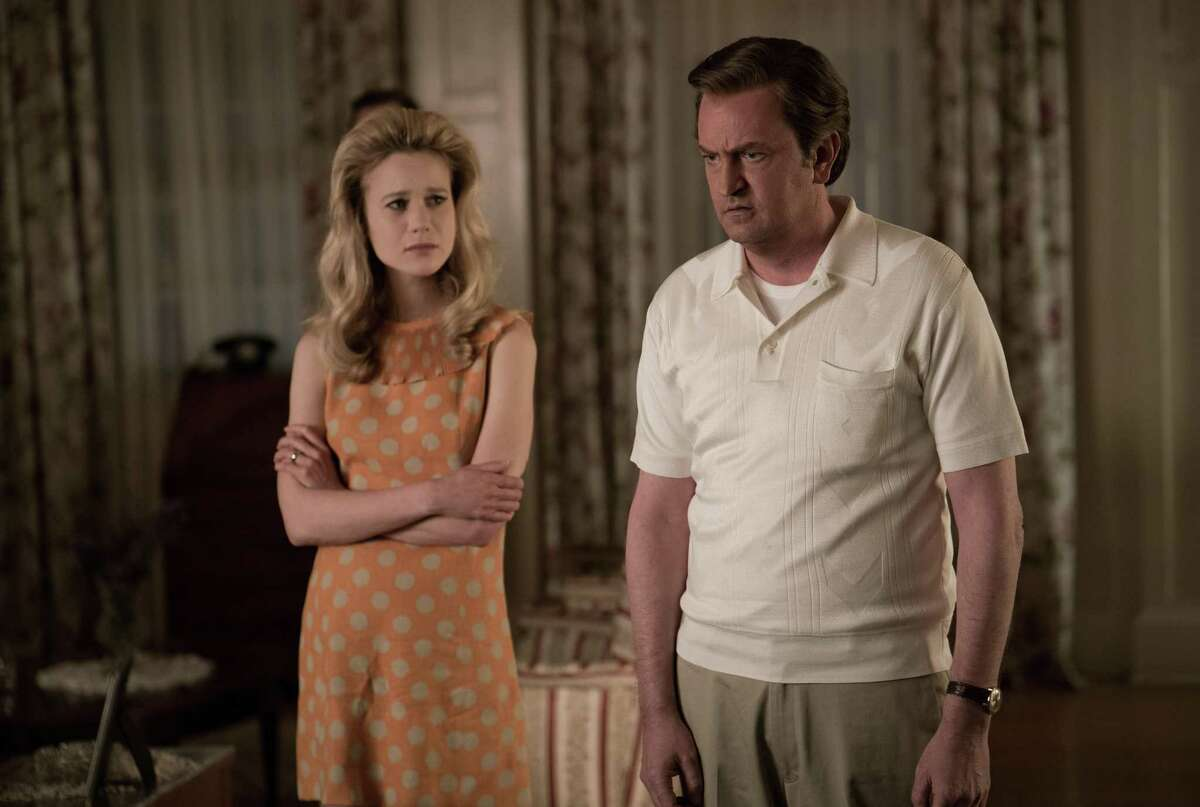 """Matthew Perry as Ted Kennedy and Kristen Hager as his wife Joan struggle to deal with the aftermath of the Chappaquiddick tragedy in """"The Kennedys: After Camelot"""" on Reelz Channel."""