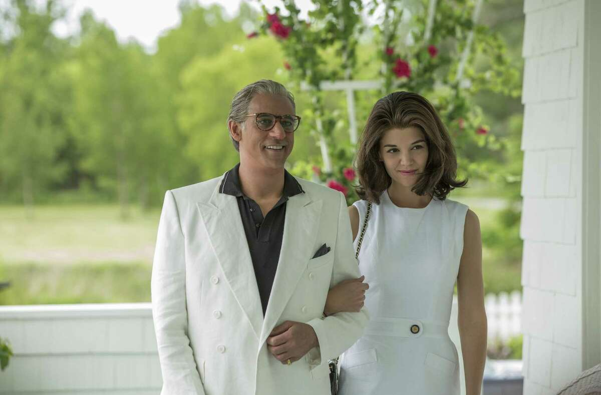 """Jackie Kennedy (Katie Holmes) seeks to escape the """"Kennedy curse"""" by marrying Aristotle Onassis (Alexander Siddig) and moving her children to the safety of his Greek island in """"The Kennedys: After Camelot."""""""