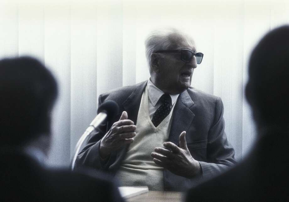 Enzo Ferrari at a press conference at the Ferrari factory 1984 Photo: Martyn Goddard/Getty Images