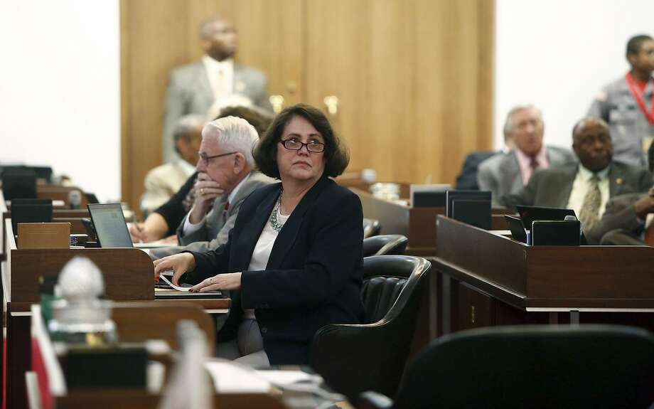 Rep. Sarah Stevens R Surry listens from the floor of the state House during debate prior to a vote on HB 142 on Thursday