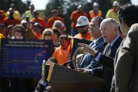 Governor Jerry Brown speaks during a press conference announcing a transportation investment package to fix roads, freeways and bridges across California and invest more toward transit and safety on Thursday, March 30, 2017 in Concord, Calif.