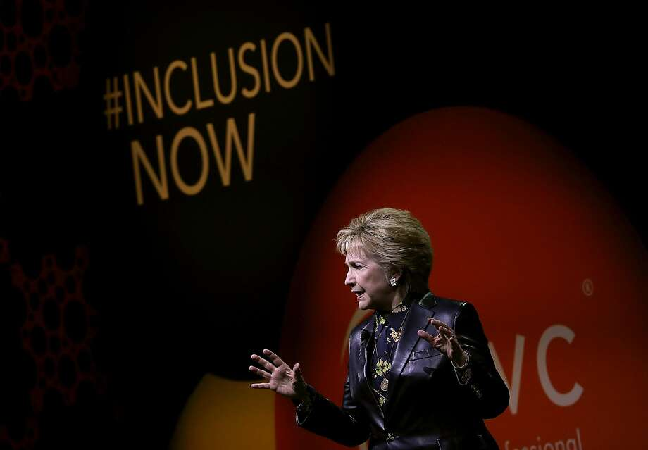 Hillary Clinton speaks Tuesday at a women's conference in San Francisco. Photo: Justin Sullivan