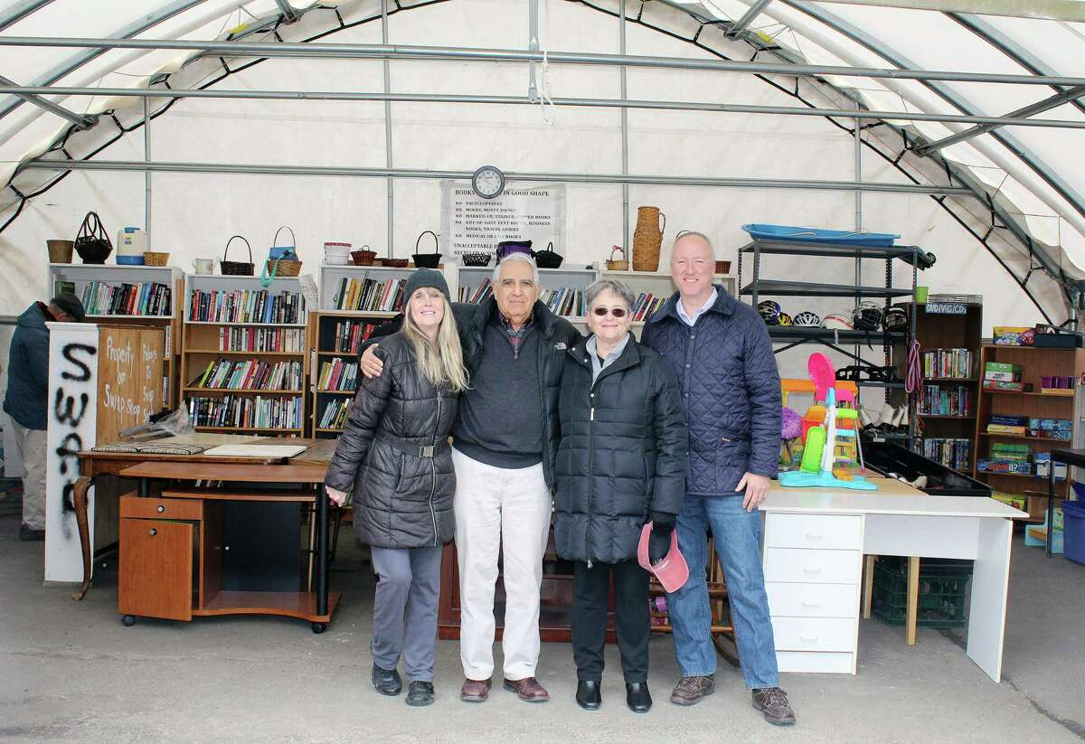 Swap Shop volunteers Kathy Dobbins, Dan Dolcetti, Sue Cameron and Reese Hutchison at the Swap Shop in Darien on March 24.
