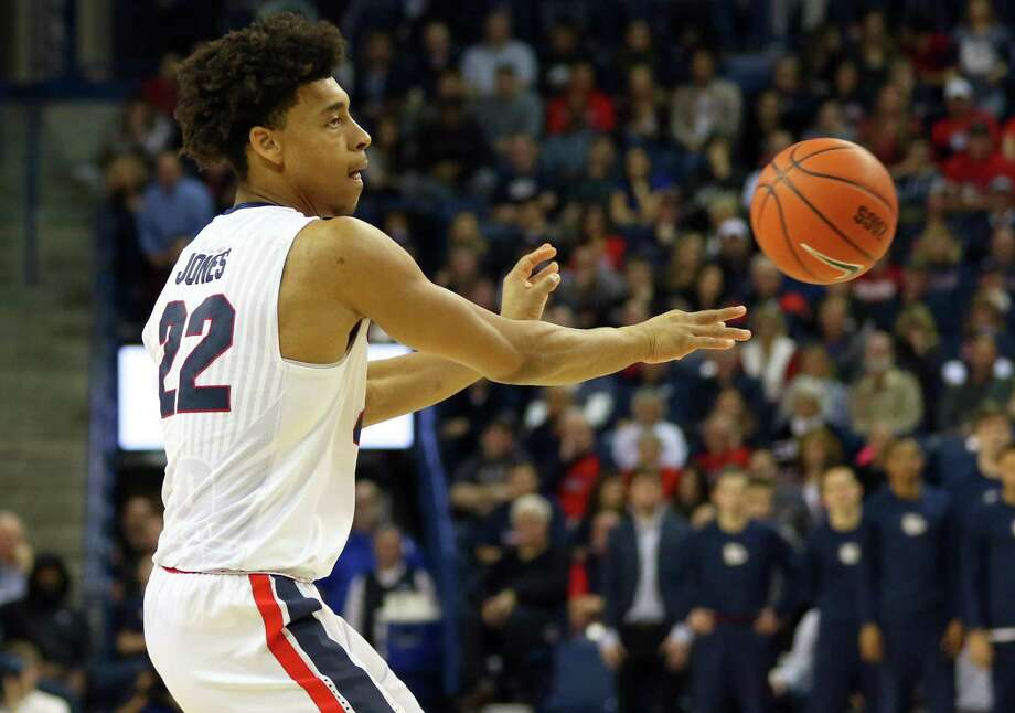 Gonzaga forward Jeremy Jones (22), a former East Central High School standout, in action during the 2016-17 season. Photo: Courtesy Photo / Gonzaga Athletics