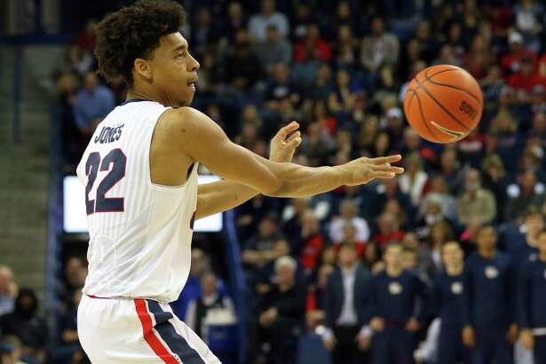 Gonzaga forward Jeremy Jones (22), a former East Central High School standout, in action during the 2016-17 season.