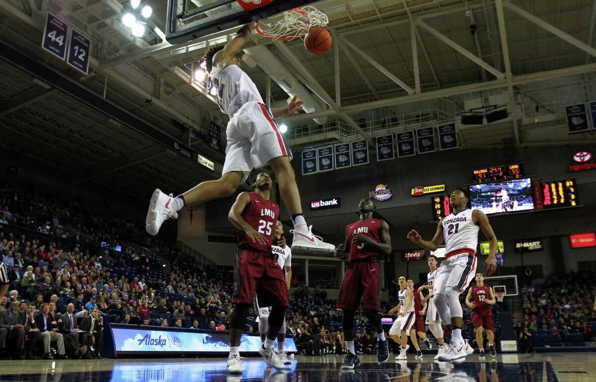 Jeremy Jones, a walk-on at Gonzaga, is pictured dunking during a game against Loyola Marymount.