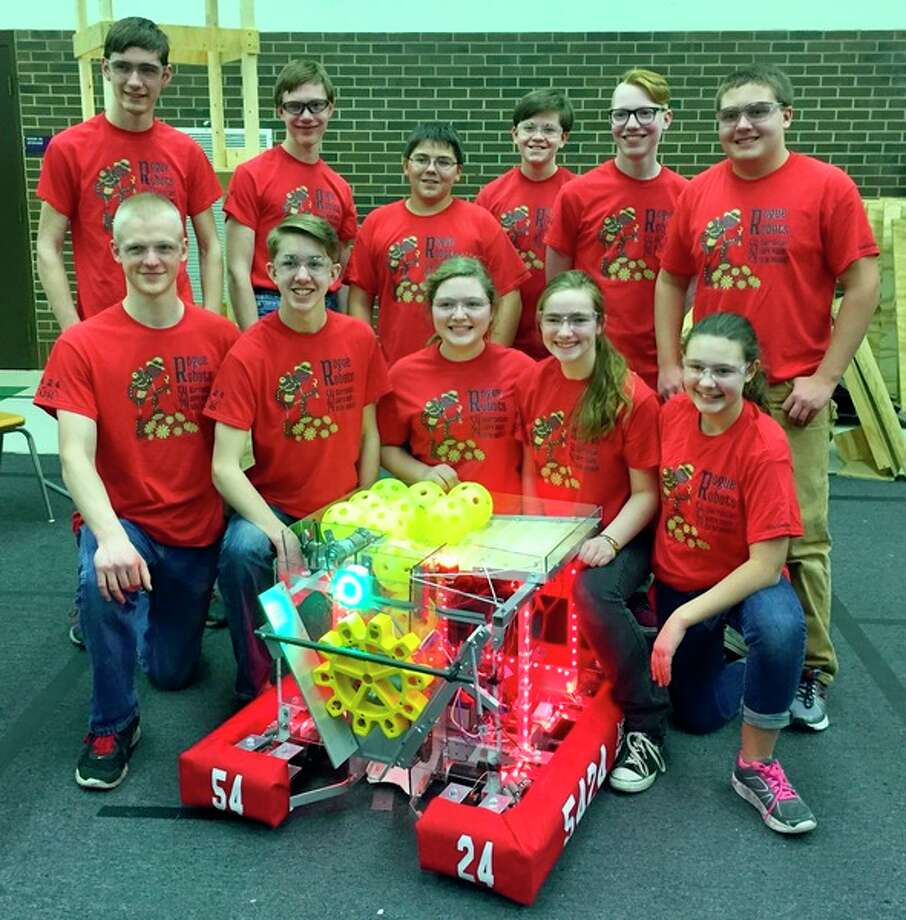 Team members of the Rogue Robots team are: Back row, from left: Isaac Fortier, Aaron Lehman, Drew Kennedy, Trent Huffman, Hayden Aspiranti and Karsten Molitor. Front row, from left:  Andrew Moots, Micah Klingbeil, Ellie Molitor, Deborah Lehman and Amelia Molitor.