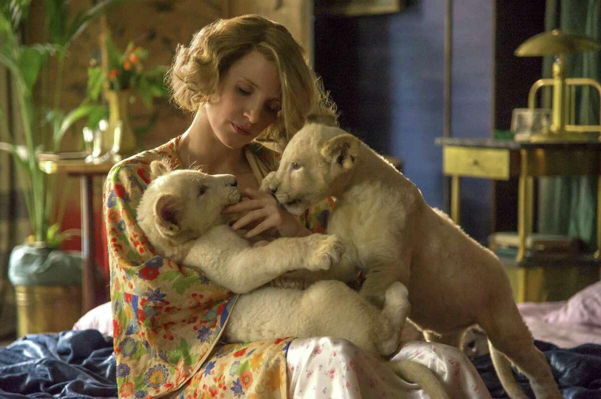 "Jessica Chastain portrays Antonina Zabinski, who helped shield Jews fleeing the Warsaw ghetto, in ""The Zookeeper's Wife."""