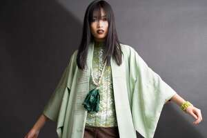 Tina Zulu with her Kimono Zulu collection at the LAUNCH popup shop curated by Sydney Dao.