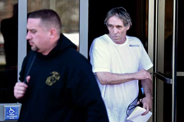 Bruce J. Bemer, of Glastonbury, leaves Superior Court, in Danbury, after his arrest in connection with a human trafficking ring in Danbury, Conn. Thursday, March 30, 2017.