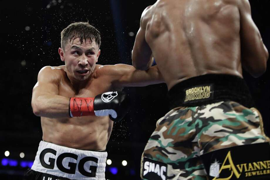 Gennady Golovkin of Kazakhstan fights Daniel Jacobs during the third round of a middleweight boxing match on March 19, 2017, in New York. Photo: Frank Franklin II /Associated Press / AP