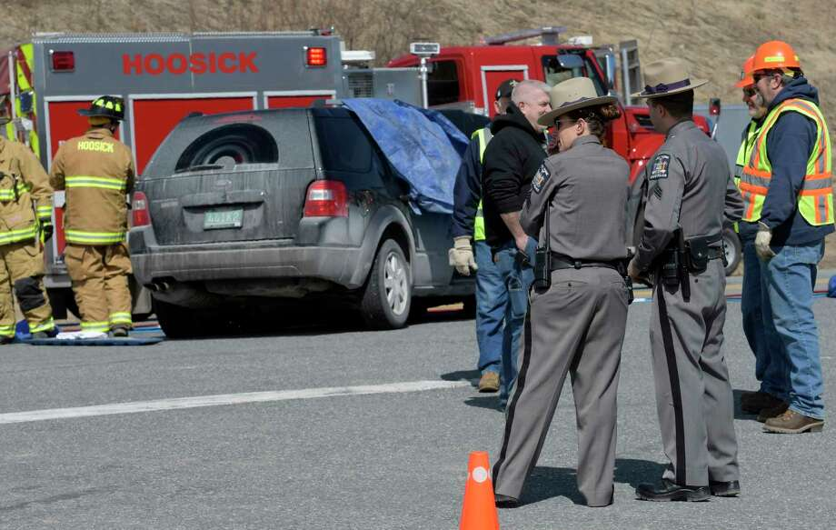 New York State Police are investigating a fatal accident at the intersection of Route 7 and Bennington Bypass Thursday March 30, 2017 in Hoosick, N.Y. (Skip Dickstein/Times Union) Photo: SKIP DICKSTEIN