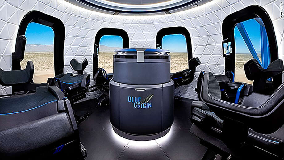 Blue Origin, Amazon CEO Jeff Bezos' rocket company that plans to take tourists into space, released images of its capsule, complete with giant windows and plenty of room for its passengers. Photo: Blue Origin