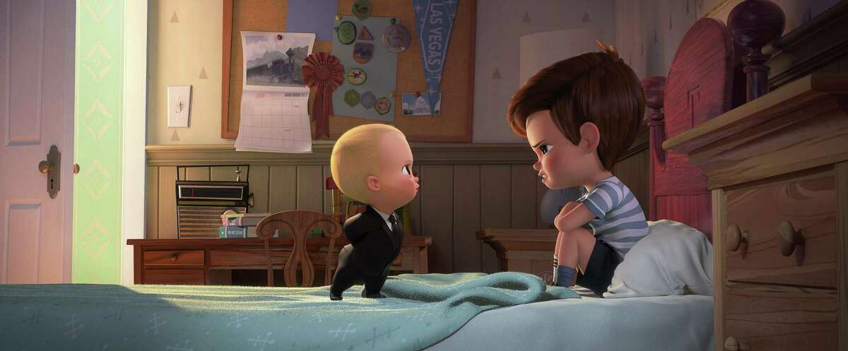 """Tim, voiced by Miles Bakshi (right) and Boss Baby, voiced by Alec Baldwin, have a serious case of sibling rivalry in """"The Boss Baby."""""""
