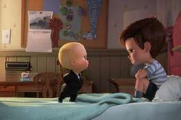 "Tim, voiced by Miles Bakshi (right) and Boss Baby, voiced by Alec Baldwin, have a serious case of sibling rivalry in ""The Boss Baby."""