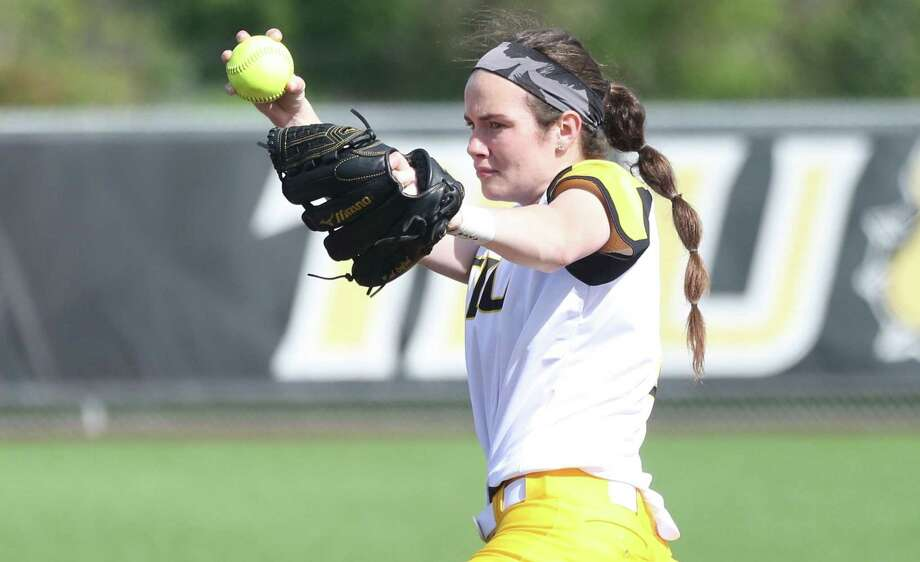 Texas Lutheran softball pitcher Maitlin Raycroft has produced six no-hitters this season, setting a Division III record. Photo: Courtesy Photo /Texas Lutheran Athletics