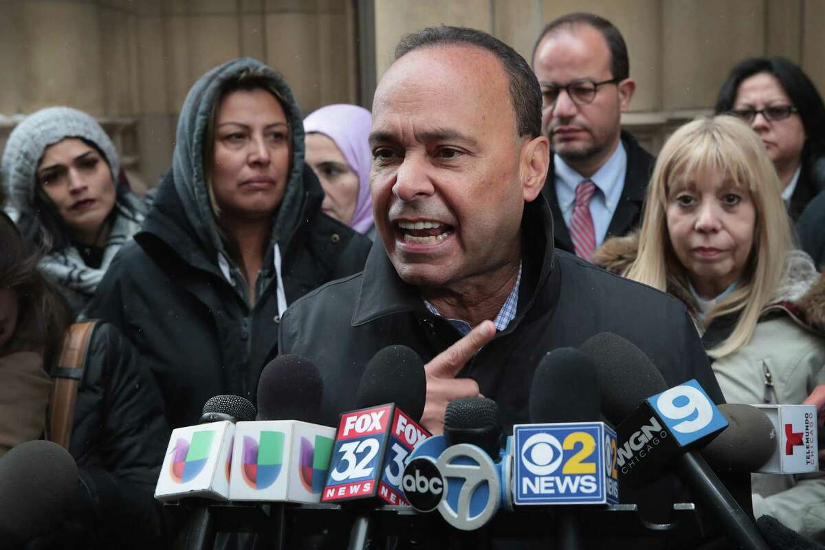 Rep. Luis Gutierrez, D-Illinois, speaks to the press March 13 after leaving the office of Immigration Services where he was briefly handcuffed and detained after refusing to leave a meeting with U.S. Immigration and Customs Enforcement officials in Chicago. President Trump's deportation policies have reached even state courthouses, with reports of agents arresting suspecting undocumented immigrants.