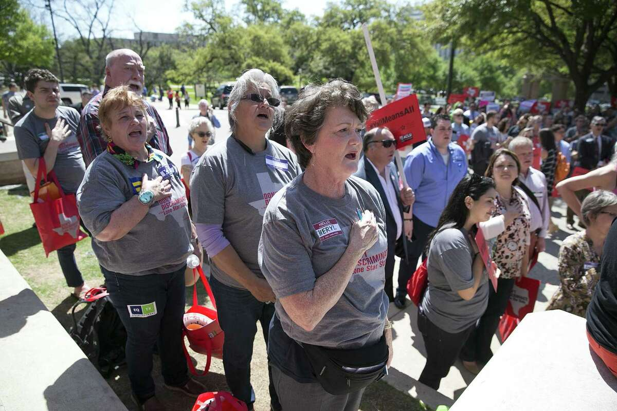 The audience sings the national anthem at All In for Equality Advocacy Day in Austin on March 20. Don't legislators trying to drag us backward - those who don't practice what they read in the Bible - realize that when one group's liberties are constrained, we all suffer?
