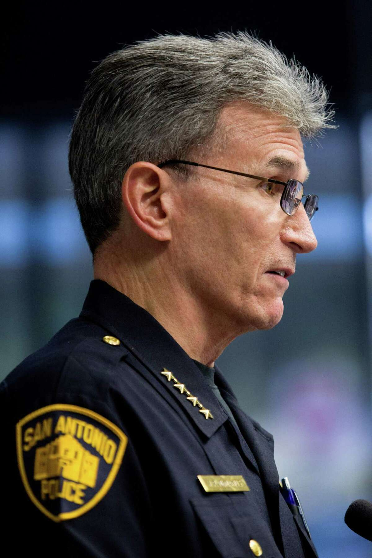 SAPD Chief William McManus speaks during a meeting of the Mayor?•s Council on Police-Community Relations at San Antonio's City Hall. Ray Whitehouse / for the San Antonio Express-News